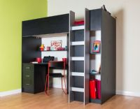High sleeper cabin bed with desk and wardrobe Calder